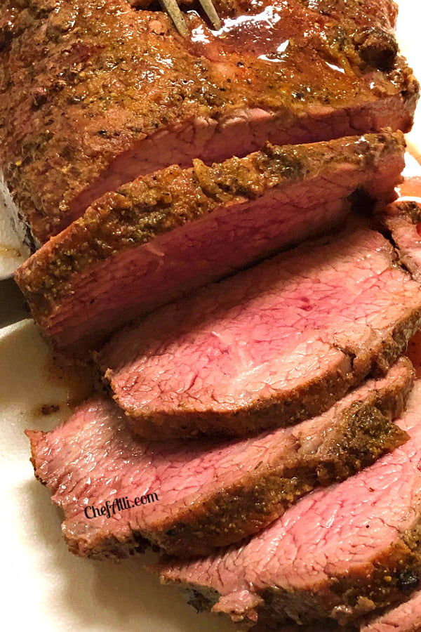 Medium-rare slices of a Tri Tip Roast....mouth watering!