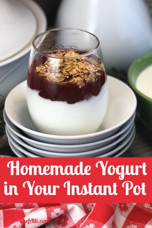yogurt parfait sitting on a stack of bowls