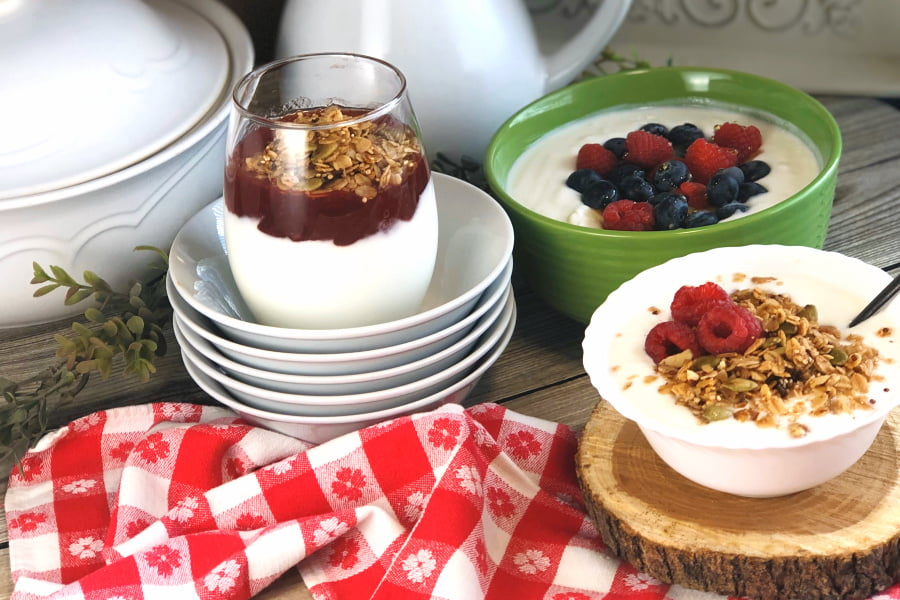 yogurt in bowls with a red napkin.
