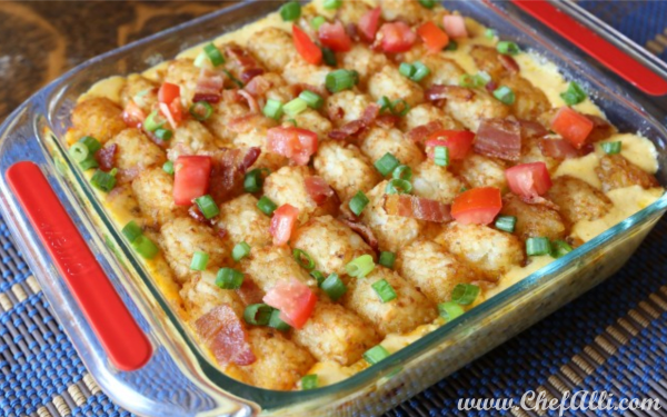 Perfect Tater Tot Casserole gets an upgrade with bacon, cheese, and more cheese!