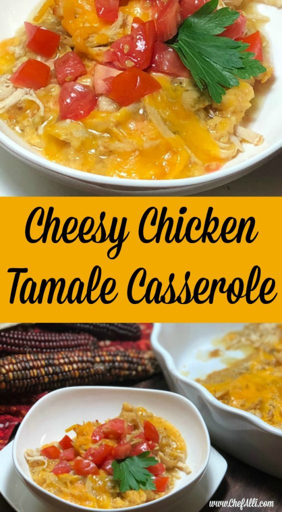 Need a quick, easy, no-fuss meal your family will adore??  Here it is, a delicious Cheesy Chicken Tamale Casserole with all the classic flavors of authentic tamales!