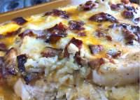 So delicious- Creamy Chicken and Rice Casserole with Bacon.