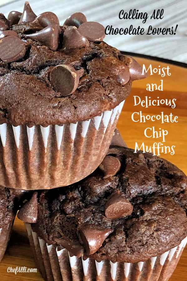 You've done it!  Search no further, for you have just uncovered THE best chocolate muffin recipe! These Moist Chocolate Chip Muffins are all that one longs for in a muffin - super chocolatey, dense, and moist.