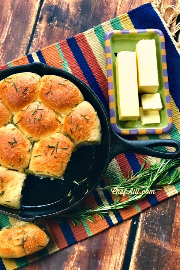 Easy Homemade Rolls – made right in your favorite cast iron skillet. I dare you to make these just once .....you will never use any other recipe…they are that easy and delicious.