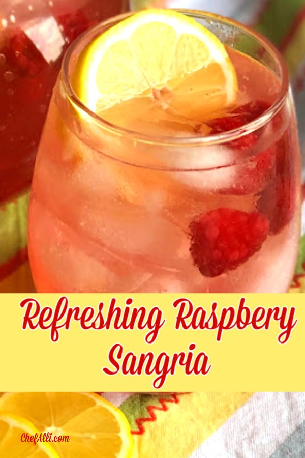 Raspberry sangria with a lemon.