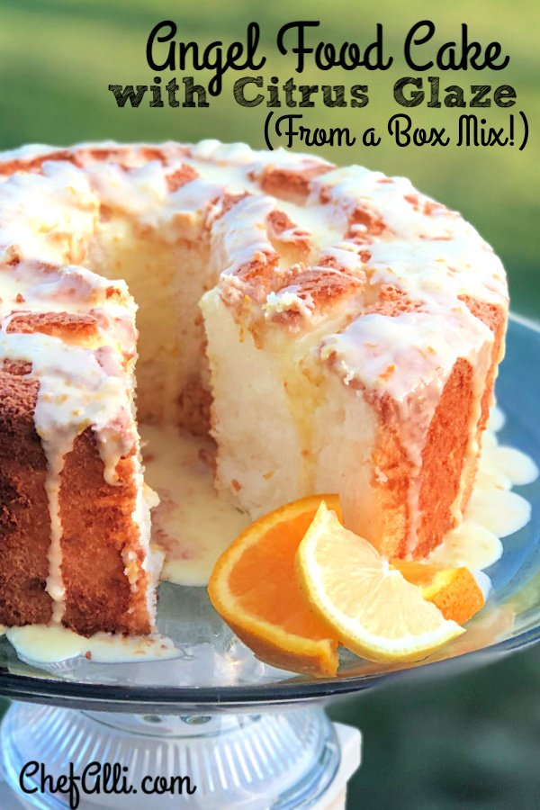 Have you ever made an angel food cake from a box mix? I am absolutely delighted at how delicious it is, not to mention easy. And, all you have to add is WATER! This Easy Angel Food Cake with Citrus Glaze is a dream to make and your guests will rave over it! #angelfood #cake #dessert #summer #bakedgoods