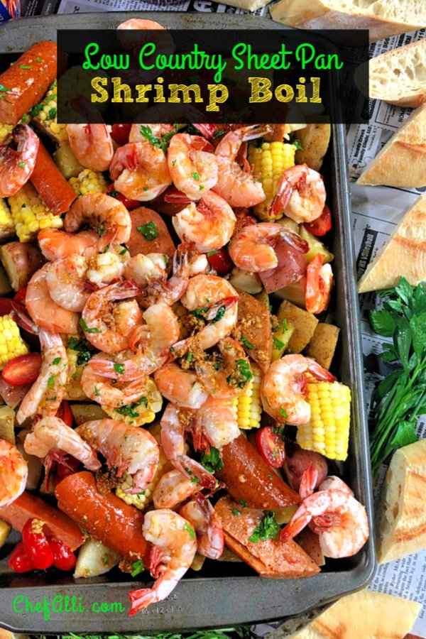 Here's the answer to the perfect summer party: Low Country Sheet-Pan Shrimp Boil! Talk about fun and easy and your guests will squeal with delight. And, as the host, you're going to love it because there's hardly any clean up required. #LowCountry #ShrimpBoil #Shrimp #Cajun #Easy #Andouille #SheetPanMeal #SheetPanDinner