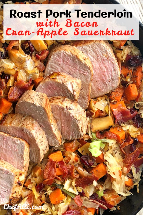 Here it is, my friends - the ultimate skillet meal for those crisp, cool days of Fall when you're craving something colorful, savory, and hearty: Roast Pork Tenderloin with Bacon Cran-Apple Sauerkraut. Your family will love this easy one-skillet meal almost as much as you love the quick clean-up following dinner! #Pork #PorkTenderloin #SkilletMeal #SpeedyMeal #OnePanMeal #Fall #Sauerkraut #Bacon