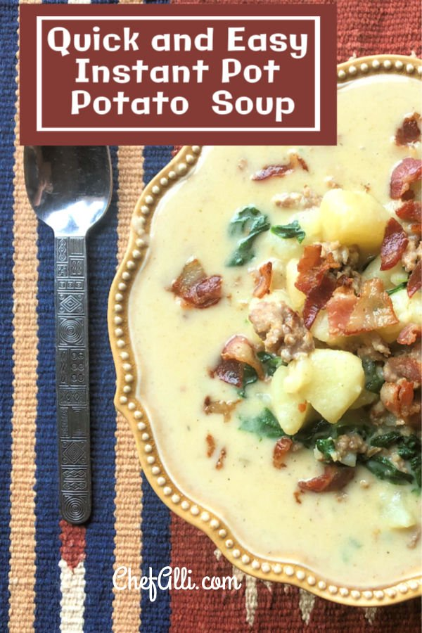 Here you go, folks - a super easy, super creamy, uber-tasty potato soup that can be made in one pot! Grab your Instant Pot and whip up this Sausage, Bacon and Potato Soup for the fam - it's pure comfort food at it's finest. #potatosoup #bacon #sausage #comfortfood #familyfavorite #family #Instant Pot