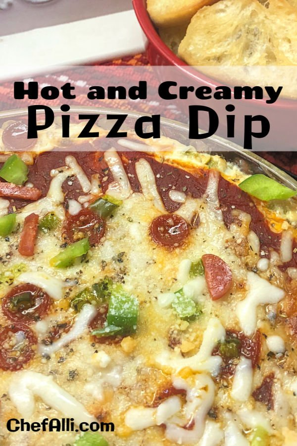 Looking for an easy baked appetizer for your next gathering? Your friends and family will flip over this Hot and Creamy Pizza Dip that's made with cream cheese, pepperoni, and sausage and ready in a flash. Serve with toasted baguette slices or your favorite pita chips and crackers. #pizza #dip #easy #baked #appetizer #cheesy #FootballFriday #watchparty #SuperBowl