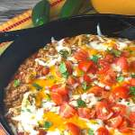 skillet full of a ground beef and noodle casserole