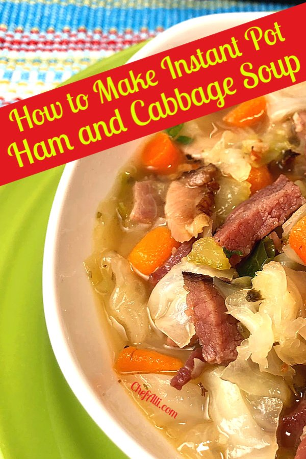 A Bowl of Instant Pot Ham and Cabbage Soup is a hearty soup made in minutes.