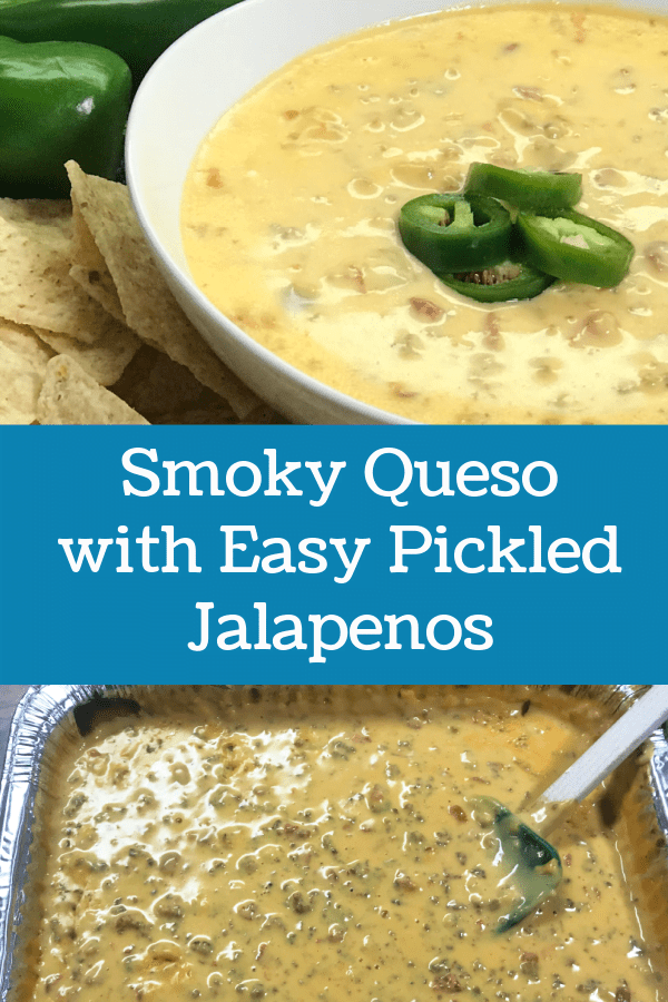 Grab a bowl of Smoky Queso with Pickled Jalapenos.