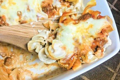 A big spoonful of Lasagna Noodle Casserole.