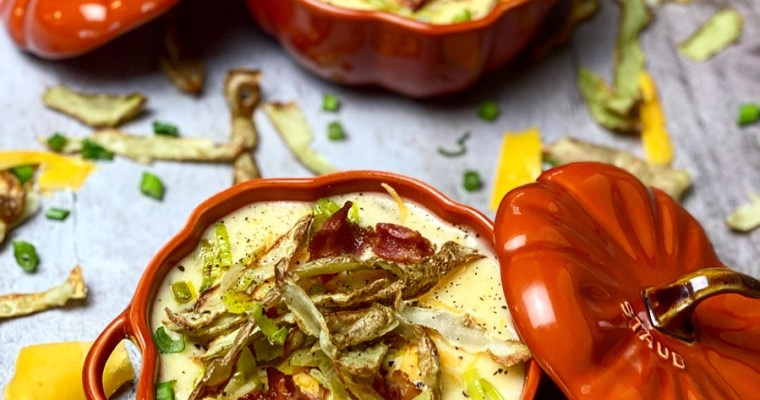 Potato & Cheese Soup With Air Fried Potato Skins