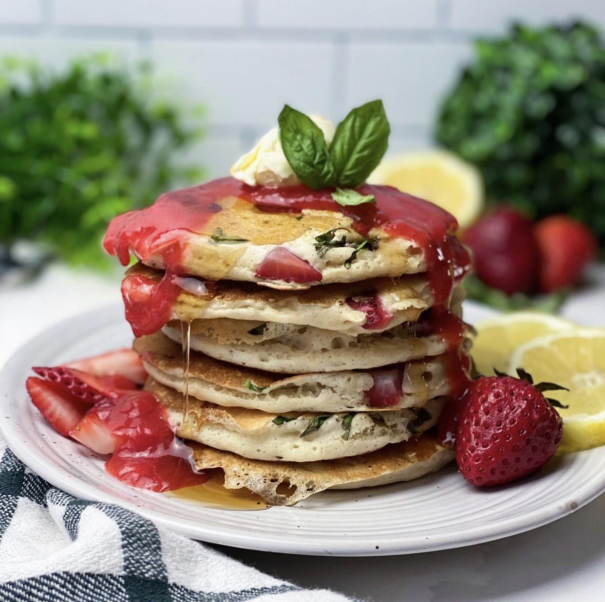 Strawberry Lemon Basil Pancakes
