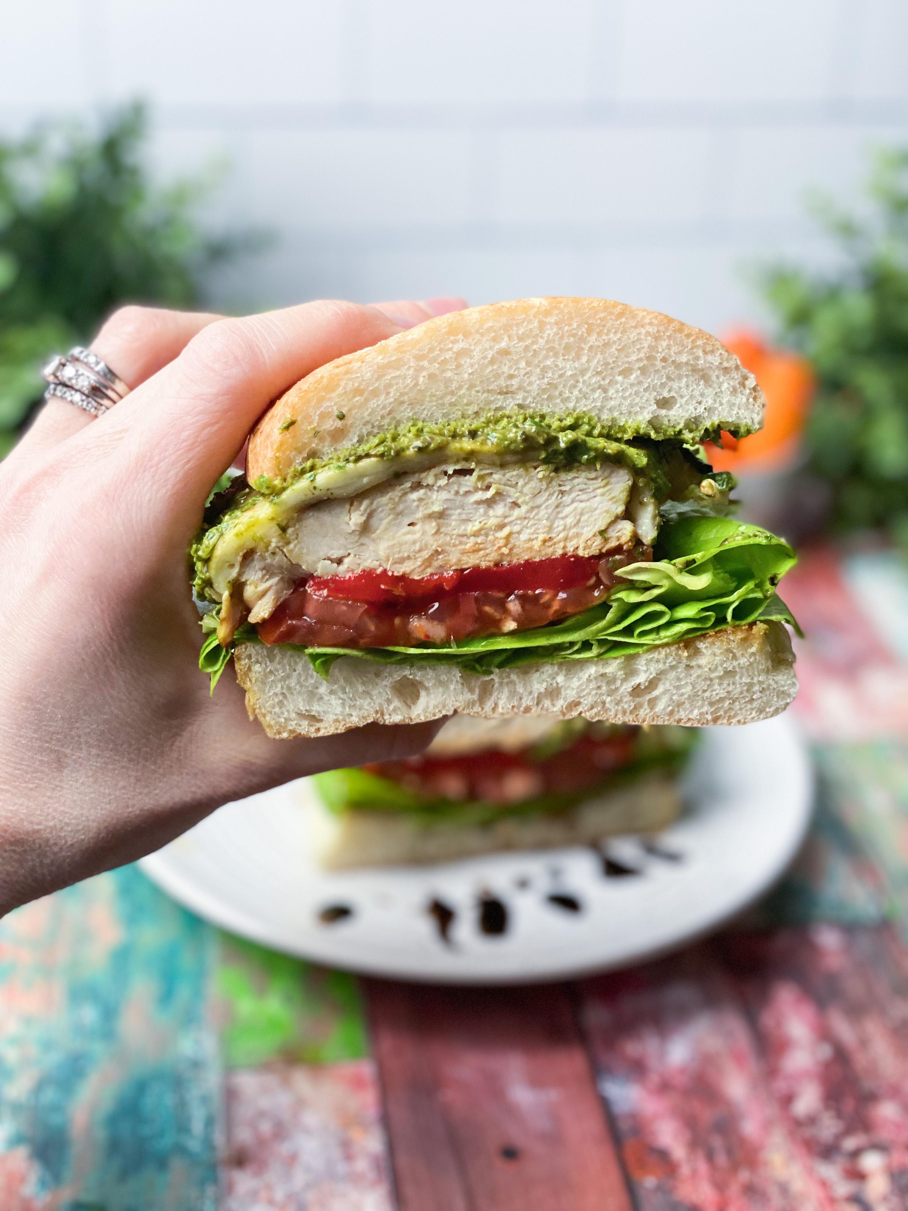 Caprese Chicken Sandwich With Pesto Aioli