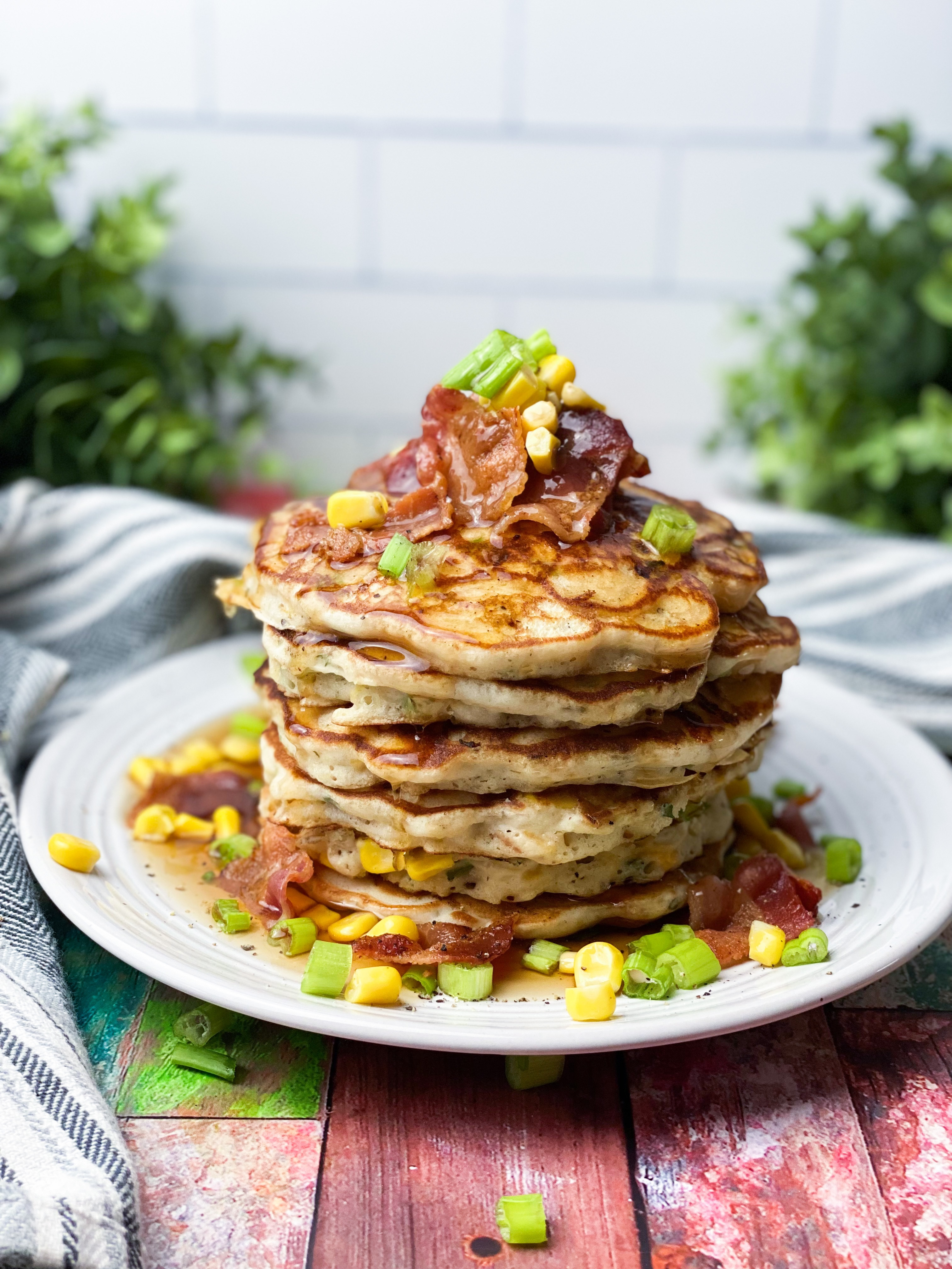 Savory Bacon, Cheddar & Corn Griddle Cakes