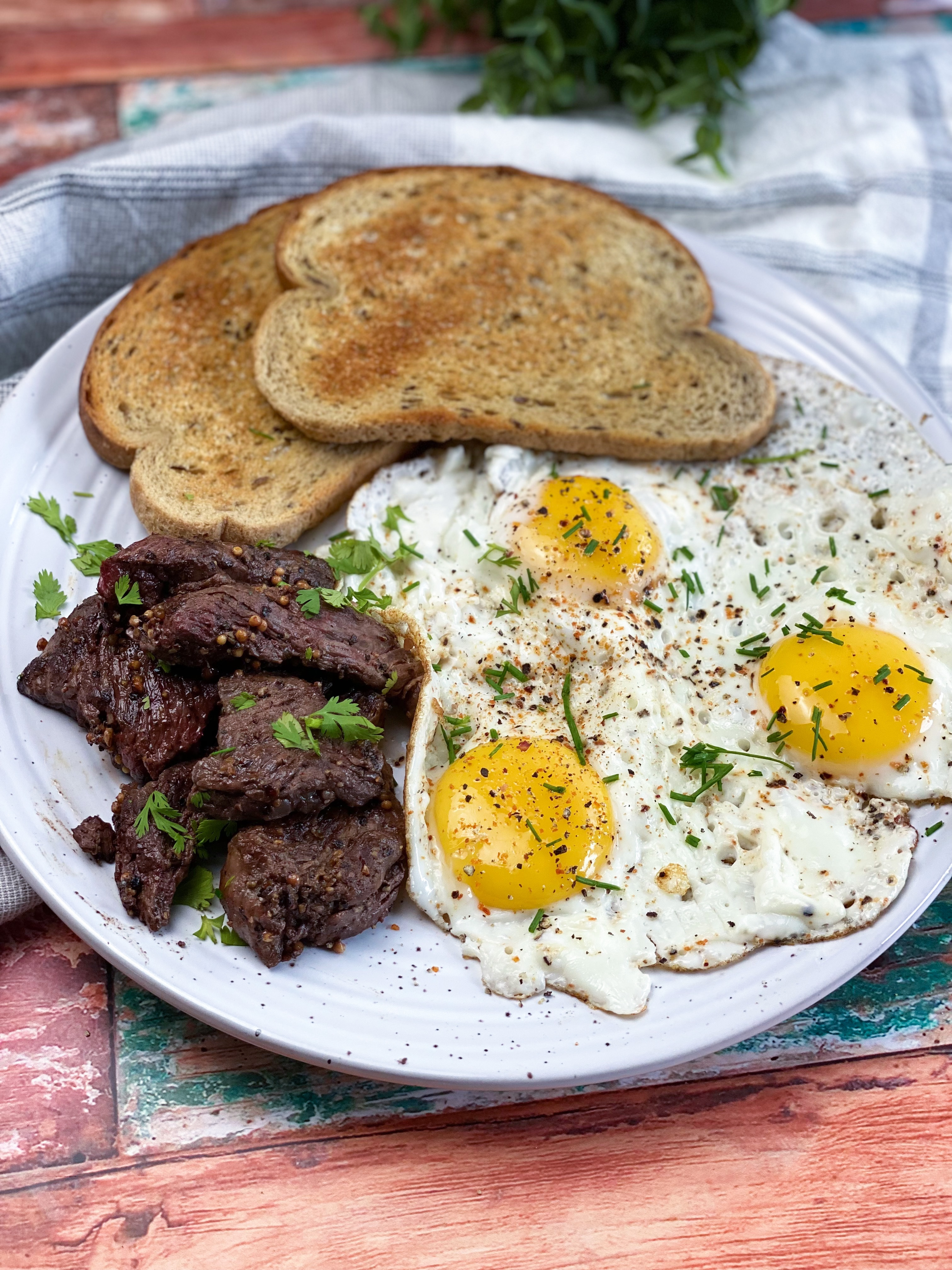 Steak Tips And Eggs