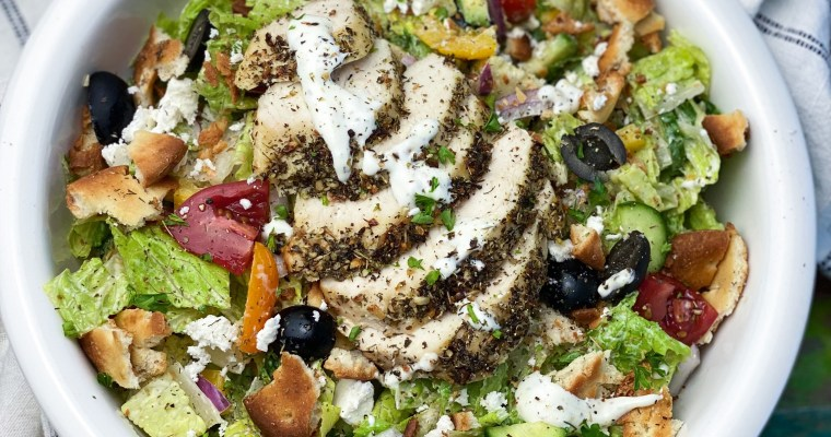 Greek Chicken Chop Salad With Herb Naan Croutons