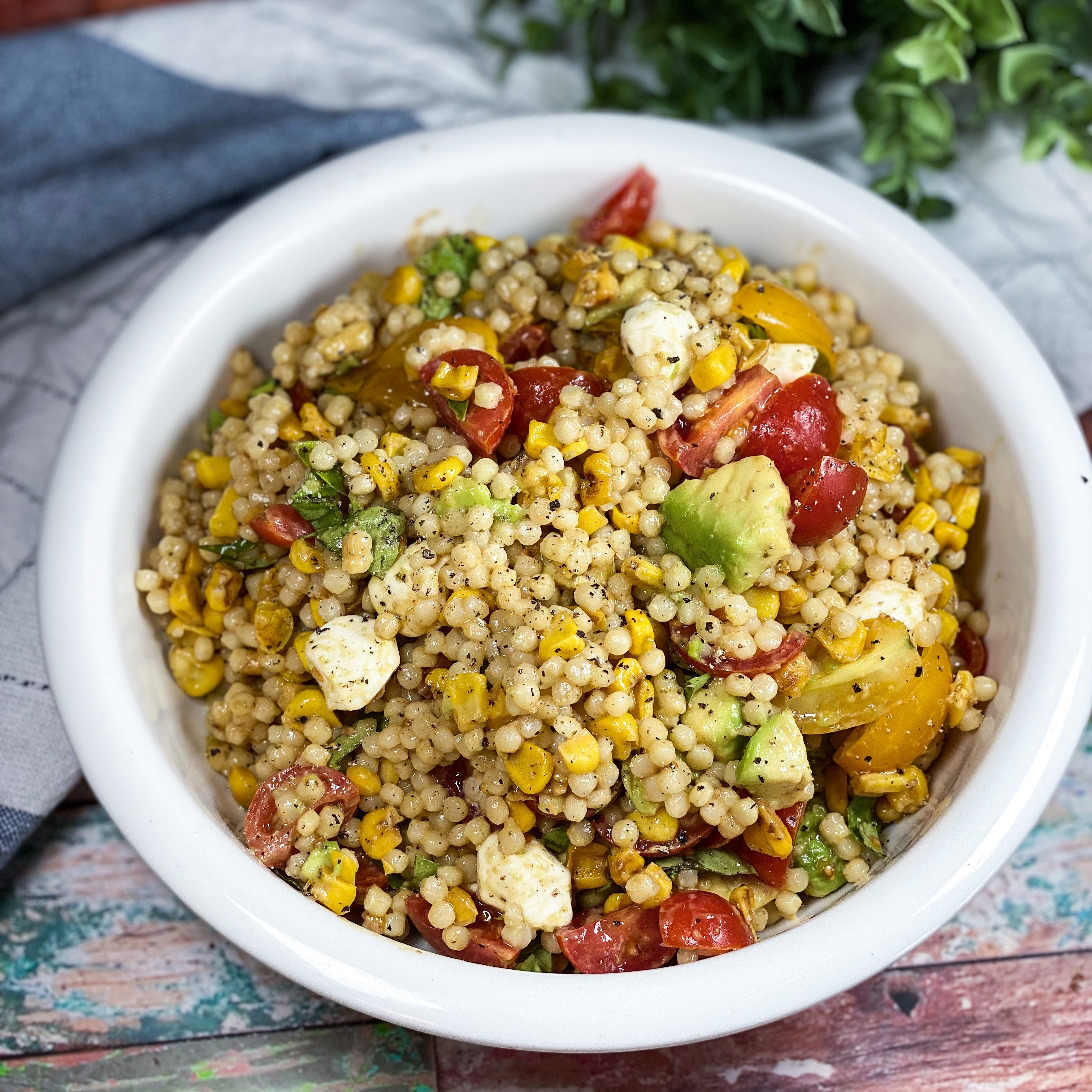 Couscous Charred Corn Salad With Avocados, Tomatoes And Mozzarella