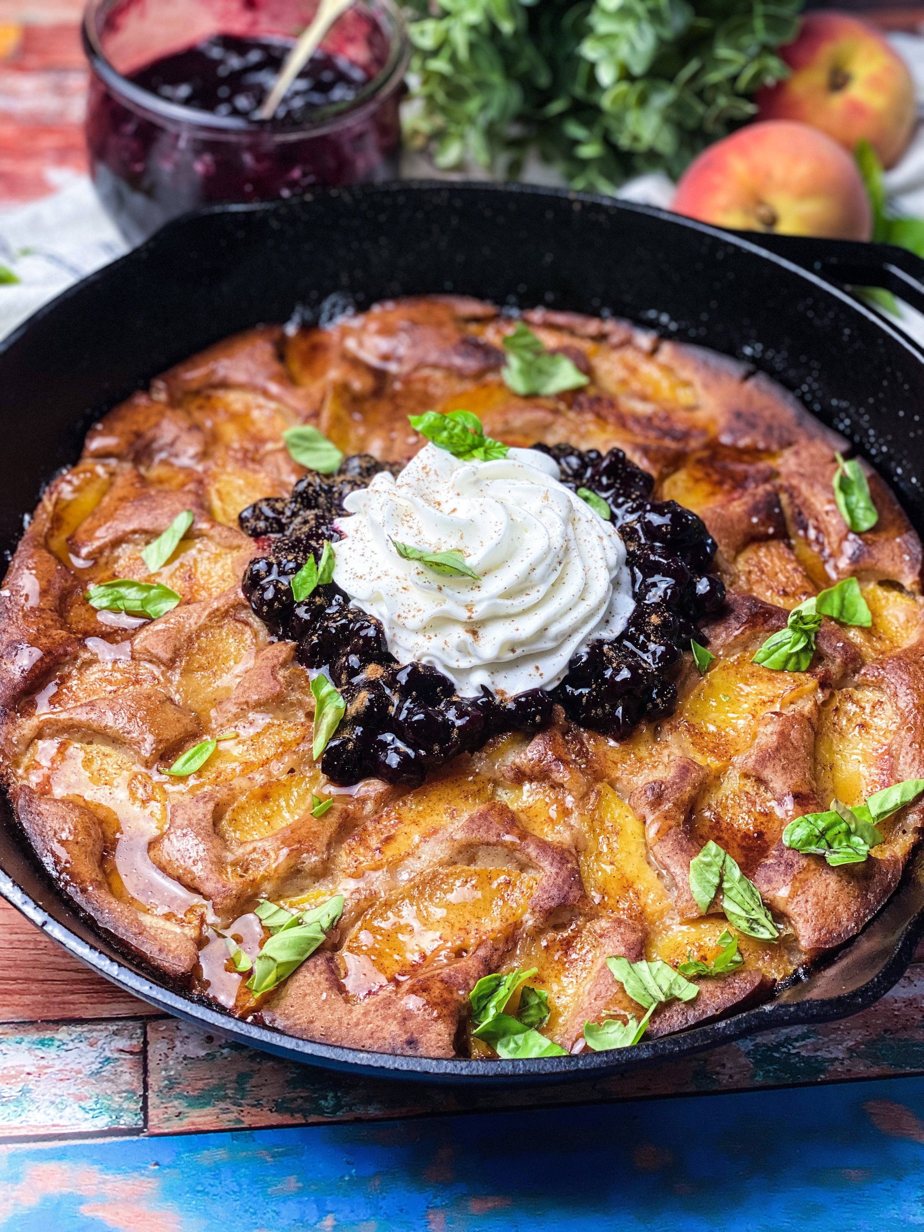 Peach Cobbler With Blueberry Compote