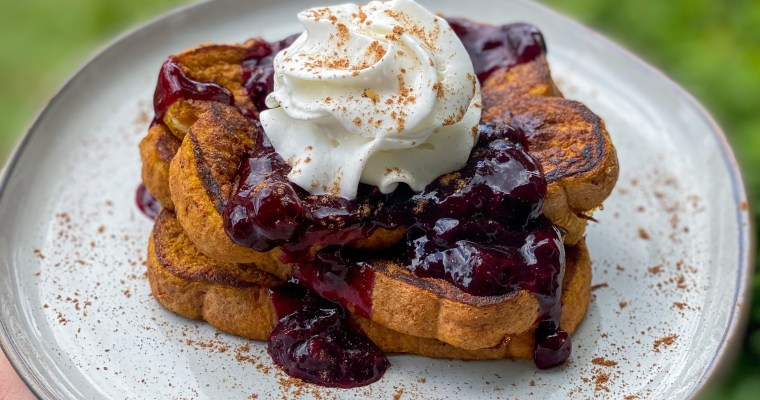 Pumpkin French Toast With Blueberry Sauce