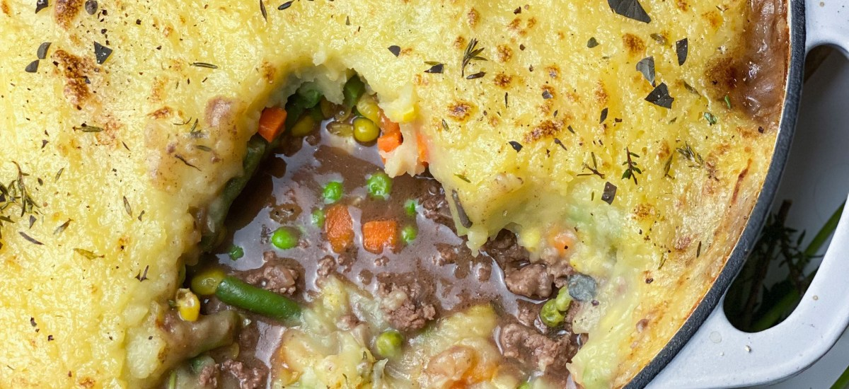 Shepherd's Pie With Brown Gravy & Thyme Butter Potatoes