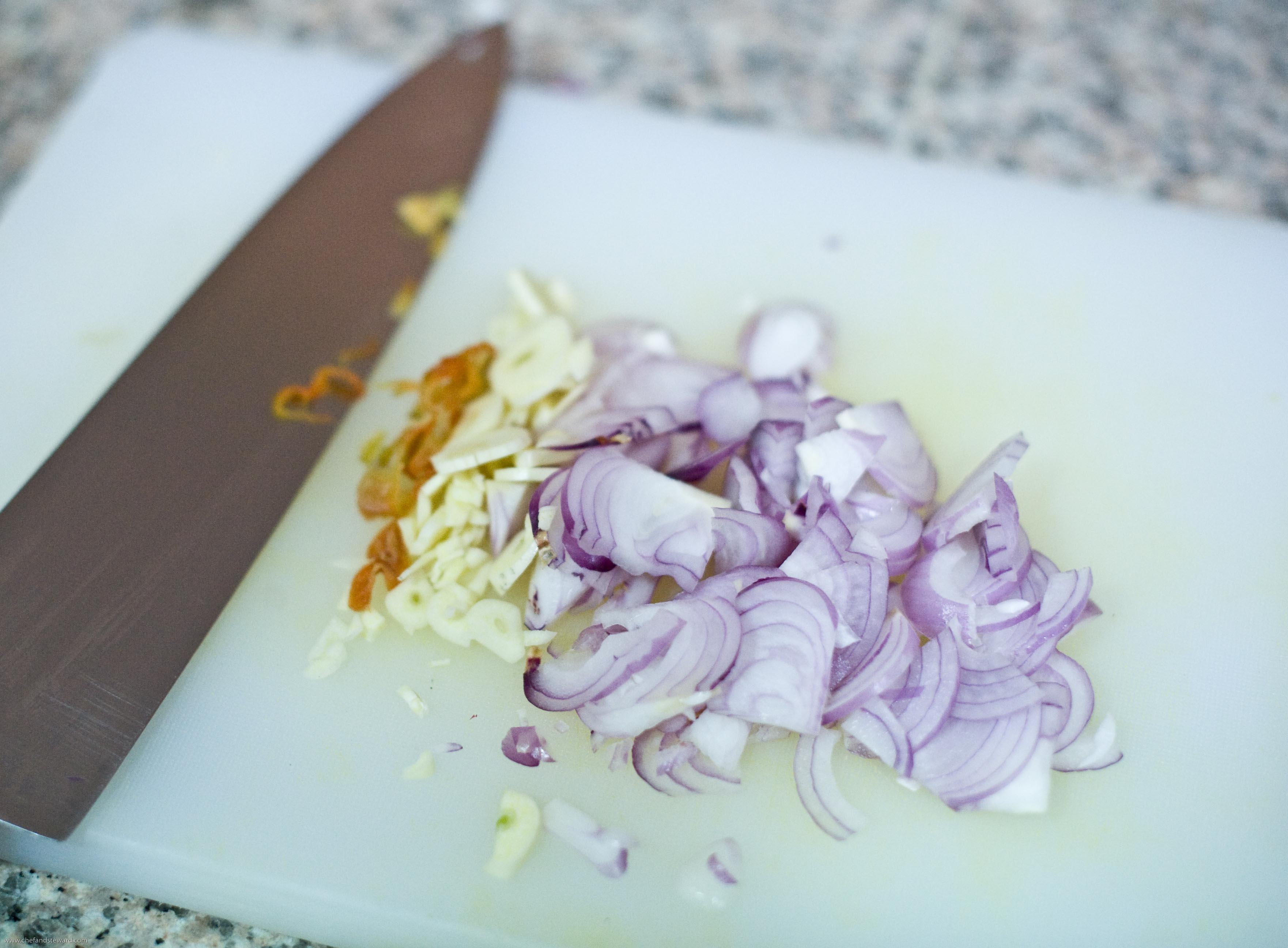 East Caribbean vegan soup chop aromatics photo