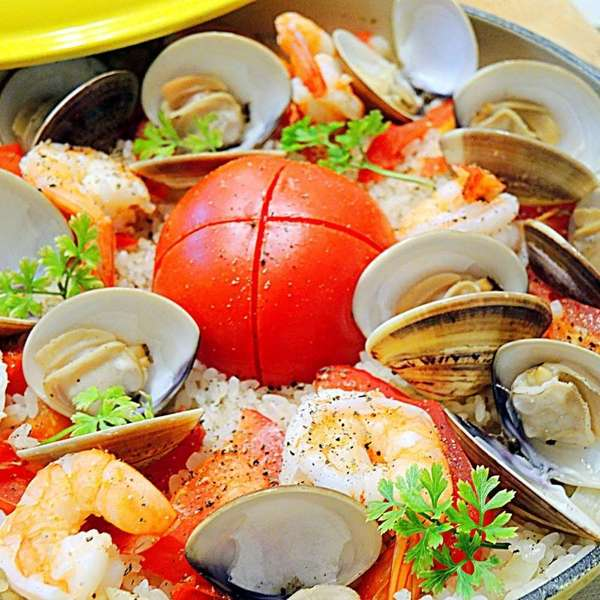 豪華升級版~整個蕃茄海鮮飯