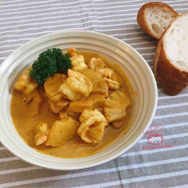 菠蘿黃咖哩蝦