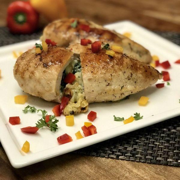 菠菜芝士釀雞胸肉