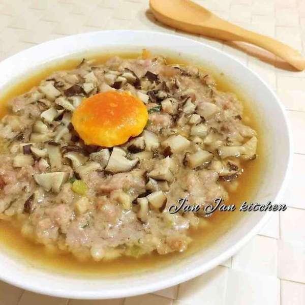 鹹蛋蝦乾冬菇蒸肉餅