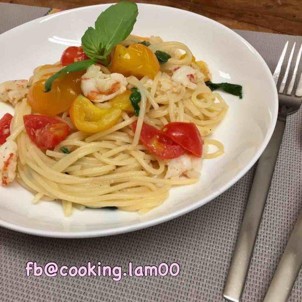 白酒香葉蝦燴意大利麵