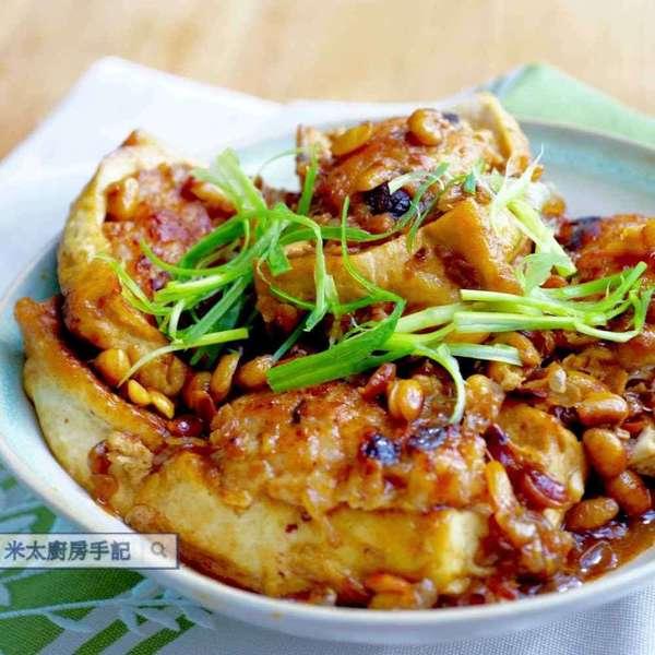 黃豆煎燜釀豆腐