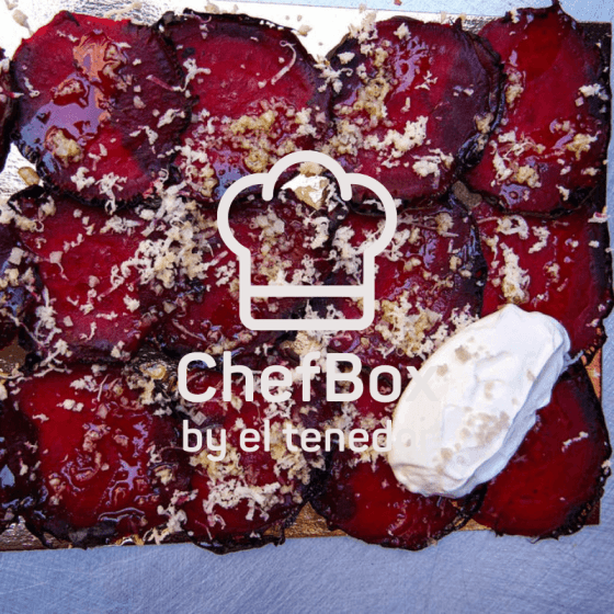 roasted beet roots with sour creme.