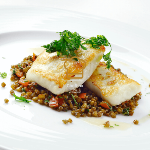Baked turbot with french lentils.