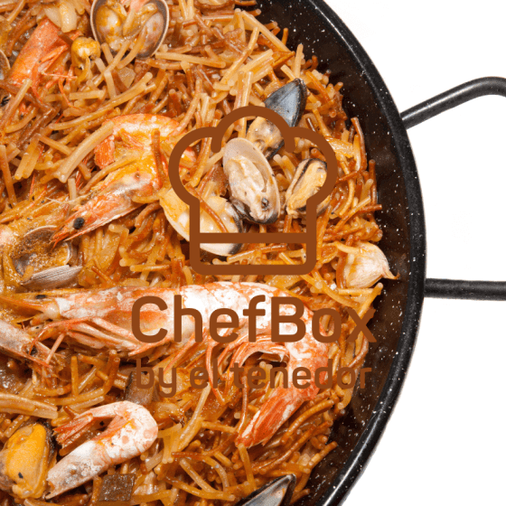 Spanish pasta with seafood.