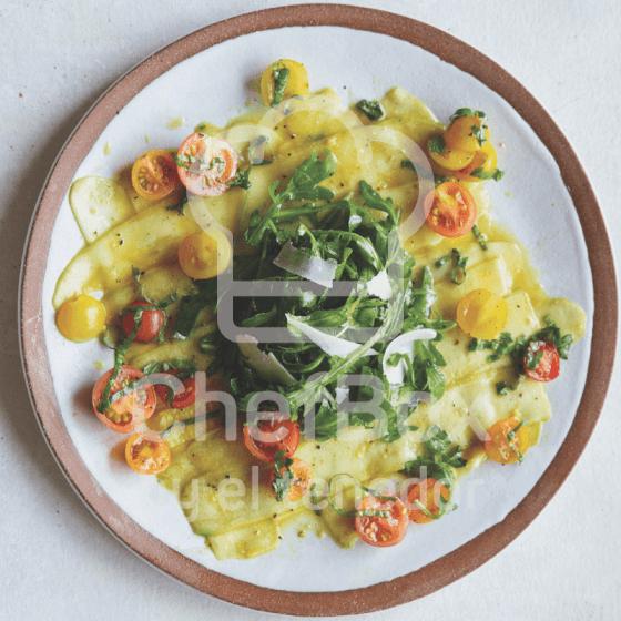 Zucchini Carpaccio, cherry tomato.