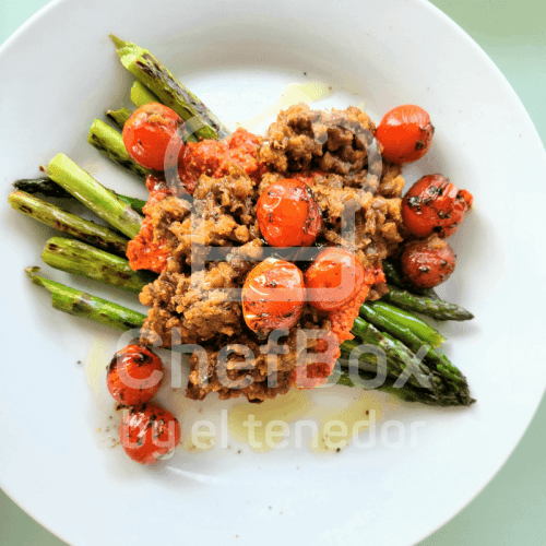 Asparagus with lentils and romesco