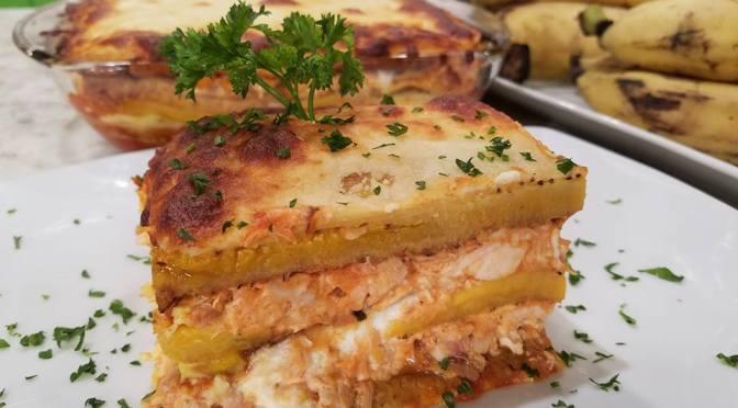 Pastelón de pollo y amarillos (VIDEO)