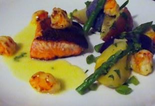 Salmon With A Warm Purple Potato Salad