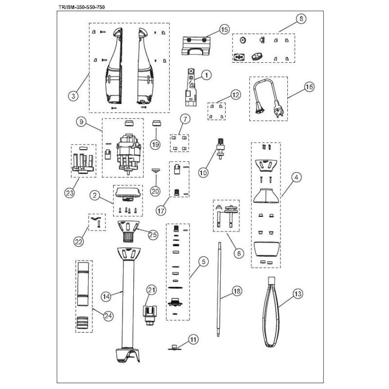 Reducing Frame Set Electroportable Sammic TR/BM 350 550