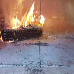 Fire in the pizza oven