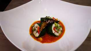 Steamed Local Fluke Wrapped in Garden Spinach with Eggplant, Spicy Warm Tomato Vinaigrette Hamptons Cooking