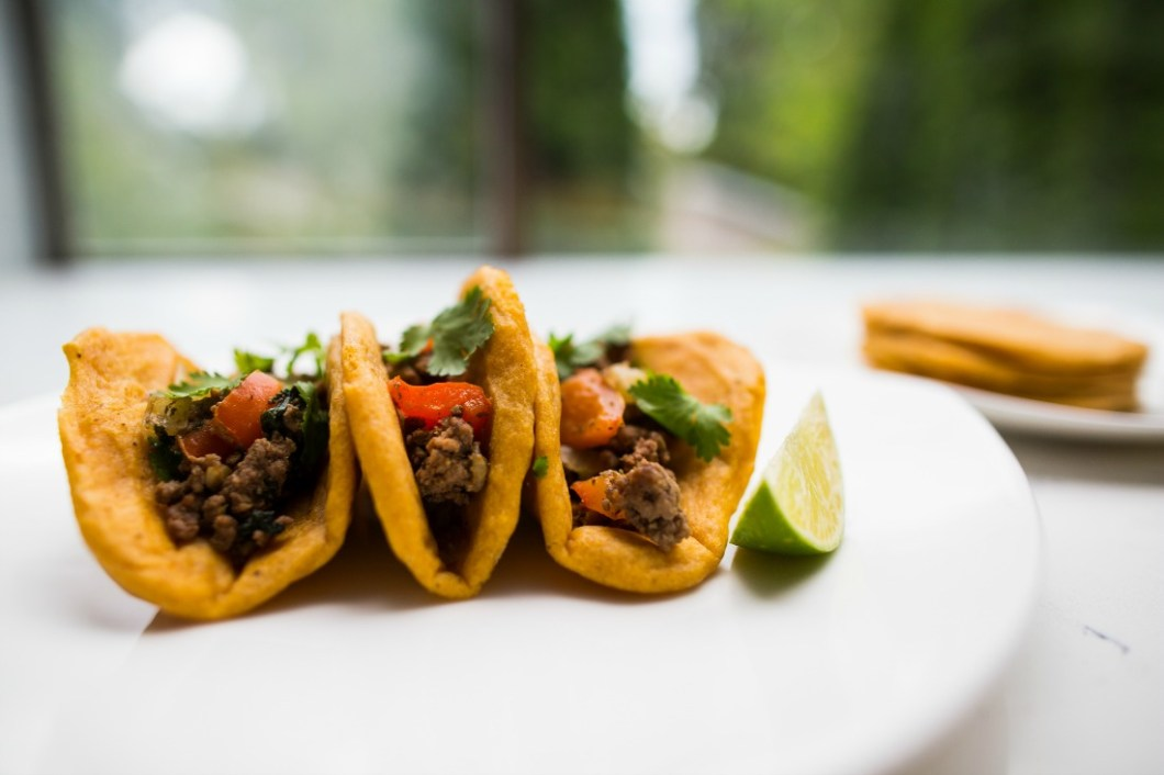 Audra Mulkern for Chef Kirsten Helle Healthy beef tacos with plantain tortillas