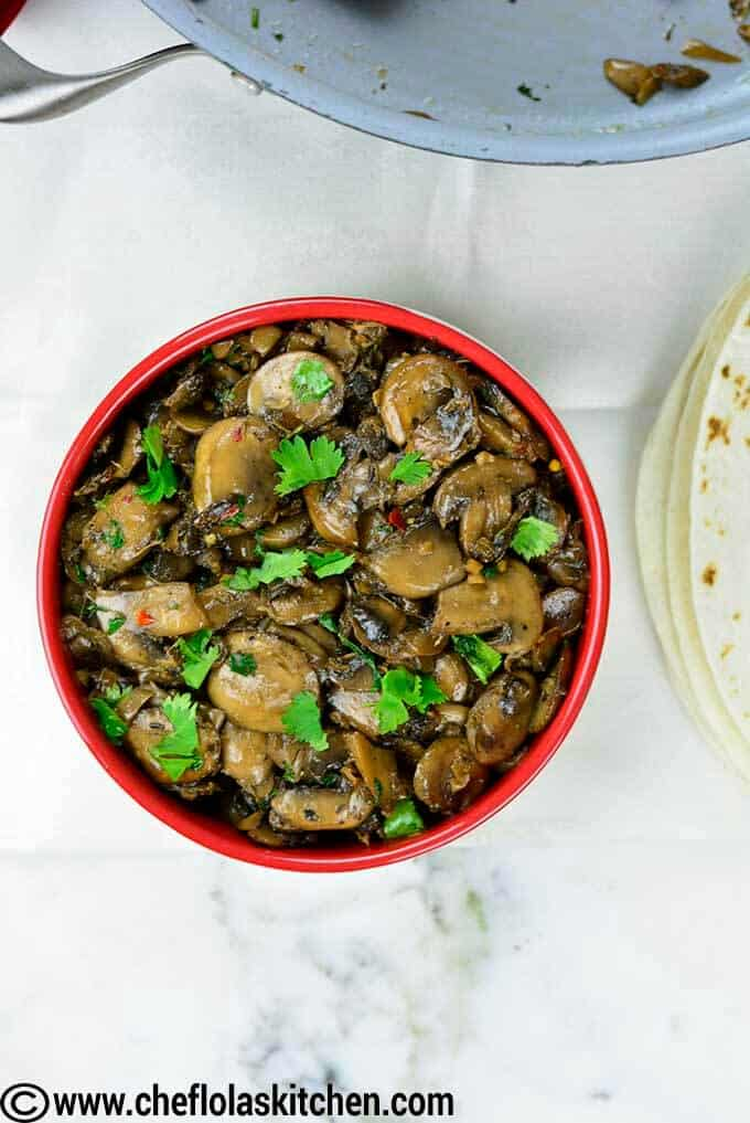 Top View in Bowl for Sauteed Mushrooms