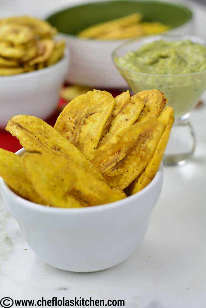 fried plantain chips close up
