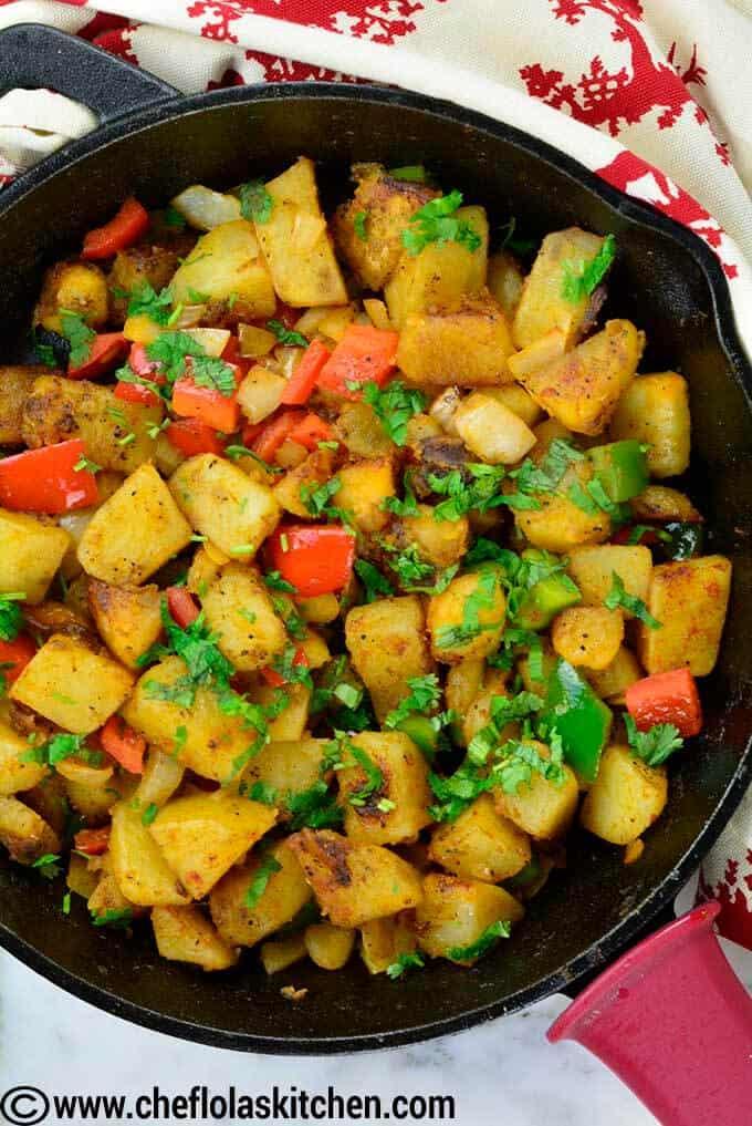 top view of skillet potatoes