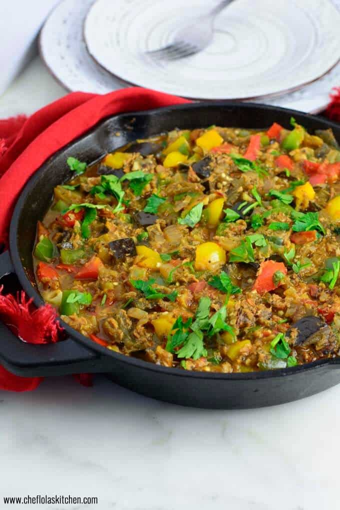 Eggplant stew loaded with Red Bell peppers, Green Bell Peppers and Yellow Bell peppers